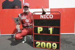 Nico Hulkenberg celebrates winning the 2009 GP2 championship with his ART Grand Prix Team