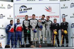 LMP2 podium: class winners Jonny Kane, Benjamin Leuenberger and Xavier Pompidou, second place Thomas