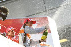 GT500 podium: class winner Takuya Izawa