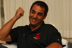NASCAR Sprint Cup Series driver Juan Pablo Montoya speaks during a Print Media Round Table