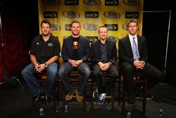 NASCAR Sprint Cup Series drivers Tony Stewart, Brian Vickers, Mark Martin and Carl Edwards get ready for a NASCAR Teleconference