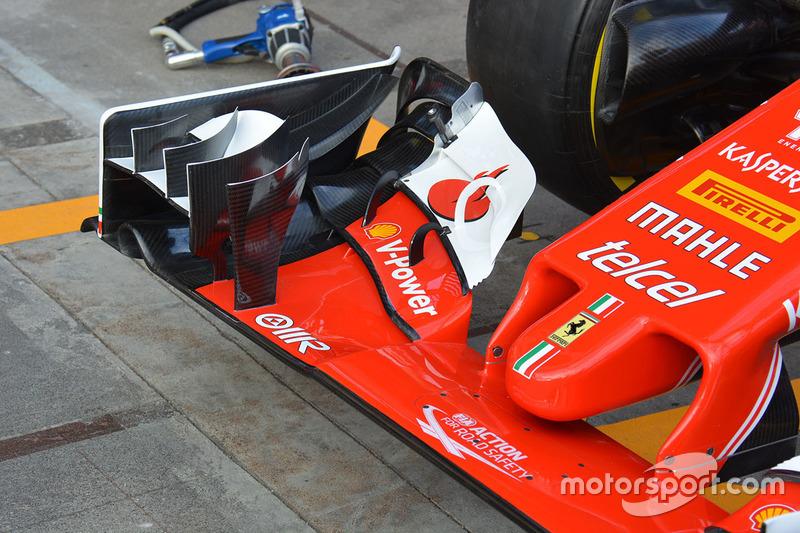 Détails de l'aileron avant de la Ferrari SF16-H