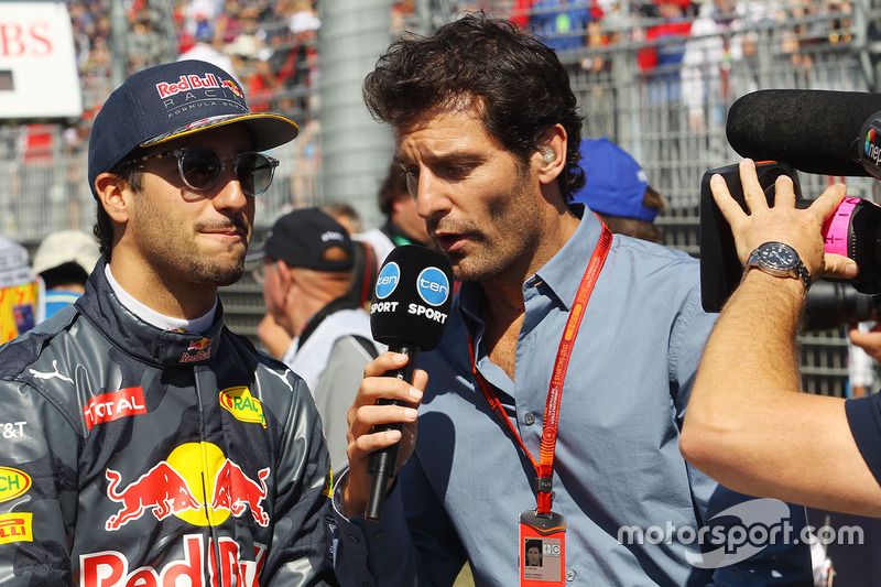 Даниэль Риккардо, Red Bull Racing и Марк Уэббер, пилот Porsche Team WEC и ведущий Channel 4