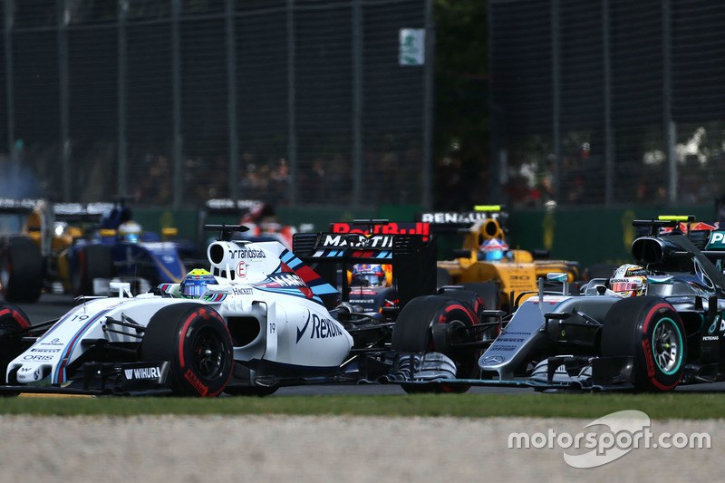 Felipe Massa, Williams FW38 and Lewis Hamilton, Mercedes AMG F1 Team W07