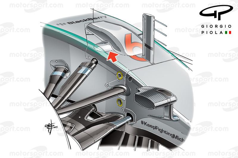 Mercedes W06, la campata della sospensione anteriore