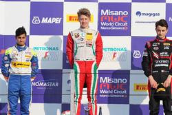 Rookie Podium race 4: Winner Juri Vips, Prema Powerteam; second place Kush Maini, BVM Racing; third place Giacomo Altoè, Bhaitech Srl