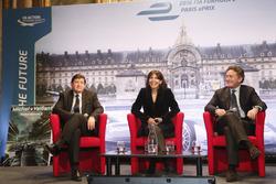 Patrick Kanner, French Sports Minister, Anne Hidalgo, sindaco di Parigi, Alejandro Agag, Formula E CEO