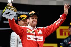 Podium: second place Sebastian Vettel, Ferrari