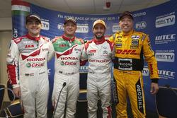 Norbert Michelisz, Honda Racing Team JAS; Rob Huff, Honda Racing Team JAS; José María López, Citroën World Touring Car Team; Tom Coronel, Roal Motorsport