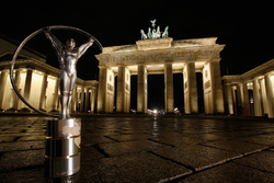 The Laureus Statuette Trophy is pictured in front of the Brandenburg Gate