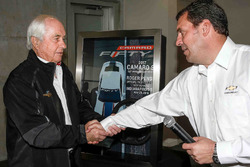 Roger Penske with the 2017 Camaro SS 50th Anniversary Edition pace car steering wheel