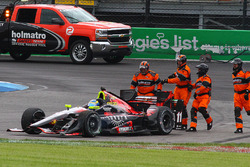 Sébastien Bourdais, KV Racing Technology Chevrolet, nach Crash