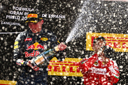 1st  place Max Verstappen, Red Bull Racing and 3rd place Sebastian Vettel, Scuderia Ferrari SF16-H