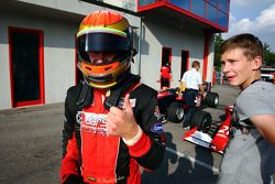 Kazim Vasiliauskas celebrates his maiden F2 Pole Position in Parc Ferme