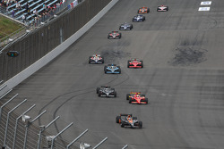 Danica Patrick, Andretti Green Racing leads Graham Rahal, Newman/Haas/Lanigan Racing and Marco Andre