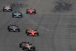 Danica Patrick, Andretti Green Racing leads Graham Rahal, Newman/Haas/Lanigan Racing and Marco Andretti, Andretti Green Racing