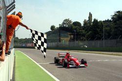 Kazim Vasiliauskas crosses the line to win the race