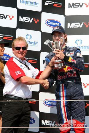 Jonathan Palmer Motorsport Vision Chief Executive and second place finisher Mirko Bortolotti celebra