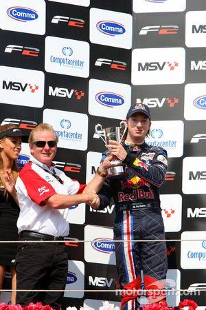 Jonathan Palmer Motorsport Vision Chief Executive and second place finisher Mirko Bortolotti celebrate on the podium