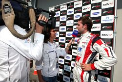 Andy Soucek third place finisher and the Championship winner is interveiwed in Parc Ferme