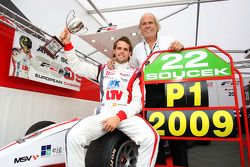 Andy Soucek with his Father Dieter and the F2 Championship Trophy