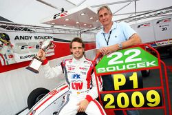 Andy Soucek with his Engineer Andy Miller and the F2 Championship Trophy