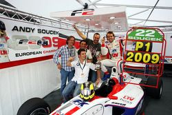 Andy Soucek celebrates with Sergio Hernandez WTCC driver and friends and the F2 Championship Trophy