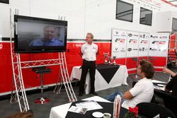 Jonathan Palmer Motorsport Vision Chief Executive talks to guests in Hospitality as Patrick Head Williams Director offers his congratulations to Andy Soucek