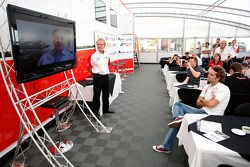 Jonathan Palmer Motorsport Vision Chief Executive talks to guests in Hospitality as Patrick Head Wil