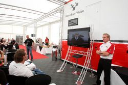Jonathan Palmer Motorsport Vision Chief Executive talks to guests in Hospitality