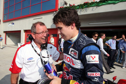 Race two pole sitter Robert Wickens is ocngratulated by Michael Row