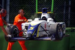 La voiture accidentée d'Alex Brundle