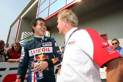 Second placed Robert Wickens in Parc Ferme with Jonathan Palmer Motorsport Vision Chief Executive