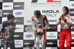 Podium: Second place Robert Wickens, race winner Andy Soucek and third place Milos Pavlovic celebrat
