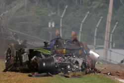 Crash pour la #9 Patron Highcroft Racing Acura ARX-02a Acura: David Brabham, Scott Sharp, Dario Fran