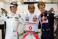 Ganador de la pole Lewis Hamilton, McLaren Mercedes, el segundo puesto Sebastian Vettel, Red Bull Ra