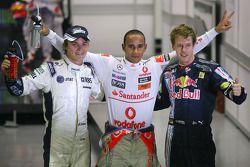 Nico Rosberg, Williams F1 Team, Lewis Hamilton, McLaren Mercedes and Sebastian Vettel, Red Bull Raci