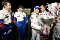 Race winners Stéphane Sarrazin and Franck Montagny celebrates with second place Nicolas Minassian an