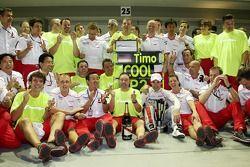 Tadashi Yamashina, Chairman and Team Principal and Timo Glock, Toyota F1 Team celebrate 2nd place wi
