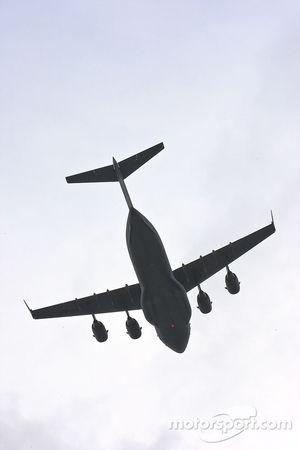 A C-17 performs a flyover
