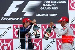 Podium: race winner Sebastian Vettel, Red Bull Racing, third place Lewis Hamilton, McLaren Mercedes
