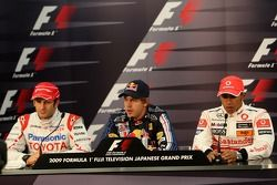 FIA press conference: race winner Sebastian Vettel, Red Bull Racing, second place Jarno Trulli, Toyo
