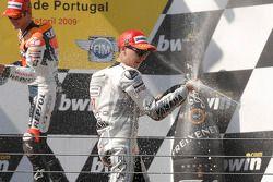 Champagne pour le vainqueur Jorge Lorenzo, Fiat Yamaha Team
