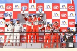 GT2 podium: class winners Toni Vilander and Gianmaria Bruni, second place Emmanuel Collard and Richard Westbrook, third place Alvaro Barba Lopez and Niki Cadei