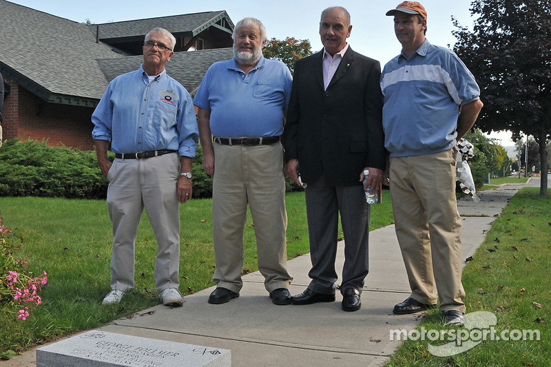 George Follmer is inducted into the Watkins Glen Walk of Fame at the International Motor Racing Research Center: IMRRC officials Jim Scaturra, Bill Green and Kevin Hughey with George Follmer