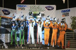 P1 podium: victoire pour Gil de Ferran & Simon Pagenaud, seconde place pour David Brabham & Scott Sh