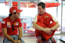 Felipe Massa, Scuderia Ferrari, gets ready for his first F1 test since his accident, with Rob Smedle