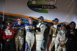 Class winners podium: GT2 winners Jorg Bergmeister and Patrick Long, P2 winners Adrian Fernandez and Luis Diaz., P1 and overall winners Gil de Ferran and Simon Pagenaud, Challenge winners Shane Lewis and Mitch Pagerey