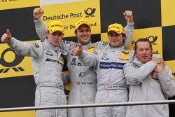 Podium: race winner Gary Paffett, Team HWA AG, AMG Mercedes C-Klasse, second place Paul di Resta, Team HWA AMG Mercedes C-Klasse, third place Bruno Spengler, Team HWA AG, AMG Mercedes C-Klasse, Hans-Jürgen Mattheis, Teammanager HWA Mercedes