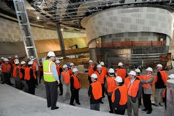 NASCAR Hall of Fame Executive Director Winston Kelley gives a tour to the voting panel